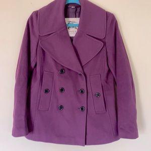 Burberry Plum colored sz 6 Pea Coat Wool Cashmere